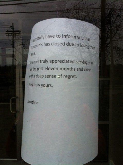 Jonathan's Bar & Grille on Needham Street in Newton has closed