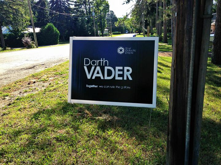 Printers and wire frame makers rejoice! It's lawn sign day!