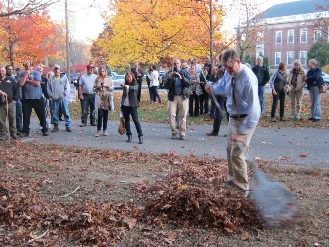 Leaf blower demonstration at City Hall