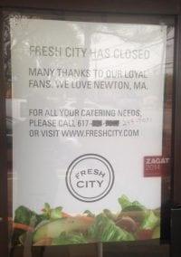 Fresh City on Needham Street is fresh out of business