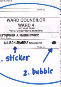 Ward 4 residents:  Here's how to write in Allison Sharma for city council